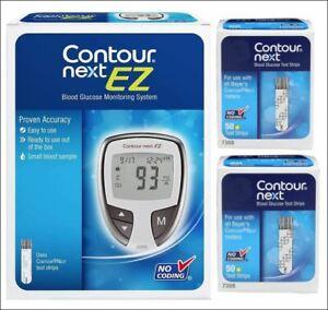 "Bayer Contour Next Blood Glucose ""100"" Test Strips EXP 7/31/2022 + EZ meter Kit"