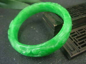 Antique Chinese Nephrite Grade A GREEN JADE Twisted wire-RUYI  Bracelet