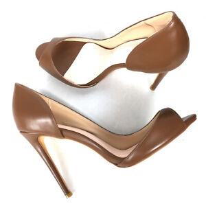 Women's Shoes Peep Toe High Heels Pumps Brown Low Cut Slip On