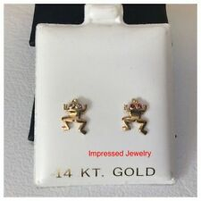 14K Yellow Gold Polished Solid Sea Life Them Frog CZ Stud Post screwback Earring