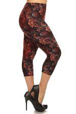 New COLOR B Plus Size Sexy Capri Floral Print Leggings Stretchy 1XL-3XL R586