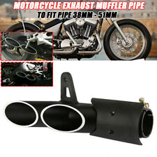 Motorcycle Two-Hole Aluminum Exhaust Muffler Pipe Kit  +38-51mm Clamp