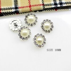 Round Ivory Pearl Rhinestones Buttons Flowers Sewing Accessory Girl Hair Package