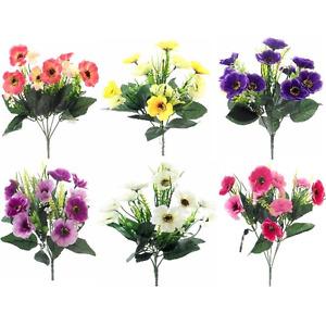 ARTIFICIAL SILK FLOWERS MINI ANEMONE BUNCH 6 COLOURS Indoor / Outdoor
