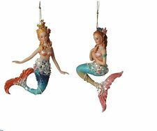 5 Inch Embellished Mermaid Ornaments Ocean Beach Theme Christmas Tree - Set of 2