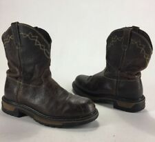 Mens Rocky Steel Toe Cowboy Work Boots Brown Size 10