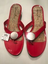 Montego Bay club Sandal RED With Silver Decorative Button