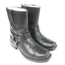 Men's Sonoma Black Leather Harness Bike Square Toe Boots Size 10.5 M