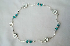 Silver Wave Anklet with Emerald Green Crystal & Daisy Link ~ Ankle Bracelet