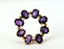 14k Yellow Gold Amethyst Circle Pin