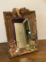 "3D Vintage 12"" 9"" Decorative Teddy Bear Standing Mirror So Cute Rare 7lbs"