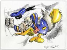 Grantinsch Général: Original PLUME ET AQUARELLE: Donald Duck en rage VII/24x32 cm