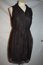 Womens BLACK SLVLESS DRESS Notch Collar CROCHET LACE OUTER Circles M 8-10