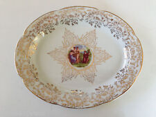 "Rare Antique Angelica Kauffman Nude Women 22K Gold 11-1/4"" Oval Serving Platter"
