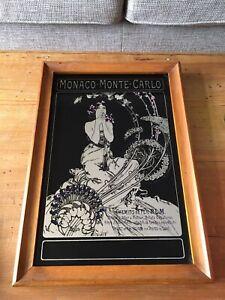 Alphonse Mucha Vintage Art Nouveau Monaco Monte Carlo Rare Mirror Collectible