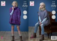 King Cole 5175 Knitting Pattern Womens Easy Knit Ponchos in Orbit Super Chunky