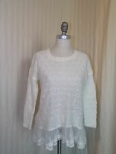 Cotton Emporium Sweater White Lacey Ruffles Open Weave Pullover Womens XS  Small
