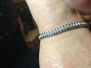 "New Stunning 1.78ct Natural Diamond Tennis Bracelet 8"" Wooden Presentation Box"
