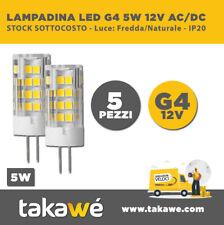 5 PEZZI LAMPADINA LED SMD 5W 360° G4 - LUCE FREDDA/NATURALE/CALDA 12V AC/DC