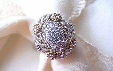 Judith Ripka 925 SS With 18 K Gold Trim   925  Size 6  WHAT A RING!