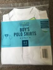 Bnwt Pack Of 2 Boys White School Polo Shirts Age 4-5 Years New