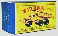 Matchbox Lesney No 6 EUCLID 6 WHEEL QUARRY TRUCK Empty Box style D