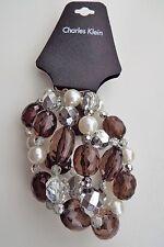 Charles Klein Multi-Strand Brown Stone Pearl Nugget Bracelet - Stretch Brand New
