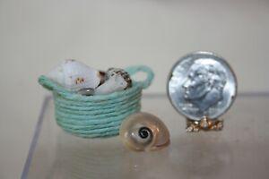 Miniature Dollhouse Seafoam Green Coir Basket FILLED w Natural Sea Shells 1:12