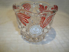 Crystal Clear Scalloped Edge/Red Design Made/Germany Votive Candle Holder/Dish