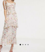 Asos Floral Maxi Dress By Dark Pink Uk Size 12 BRAND NEW