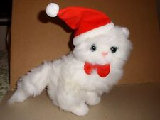 Mervyn's PLUSH WHITE PERSIAN SITTING CHRISTMAS KITTY CAT BLUE EYES PINK NOSE