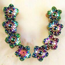 8Pcs/Set 10x5mm Multicolor Carved Hematite Flower Pendant Bead M12460