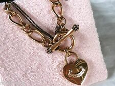 NEW WITH TAGS JUICY COUTURE PADLOCK GOLD STARTER NECKLACE WITH HEART RETIRED