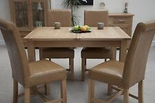 Eton solid oak furniture extending dining table with four leather chairs set