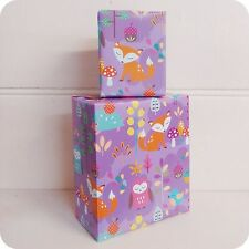 2 SHEETS WRAPPING PAPER owls foxes birds folded MADE IN AUSTRALIA purple 70 x 50