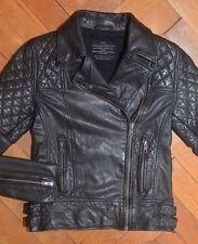 AllSaints Women's Black WALKER Leather Biker Jacket UK 8