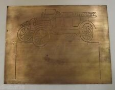 "New Hermes Brass Engraving Plate Antique Car 12"" x 9"""