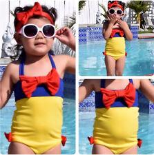 Snow White Girl Kids Bathing Suit Swimwear Bikini Swimsuit Swimming Costume 2-7Y