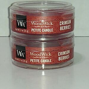 2 WoodWick Petite Candles Crimson Berries mini - 1.1 oz each