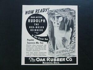 Vtg RARE 1950 DEALER Ad - Oak Rubber Hytex RUDOLPH THE RED NOSED REINDEER RL May