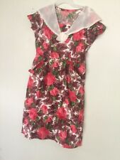 Vtg 30s Pastel Cape Collar Floral Dress