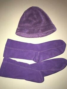 womens LANDS END size small SOFT PURPLE FLEECE HAT boot liners LOT winter @@
