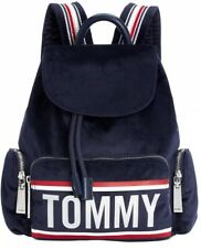 New TOMMY HILFIGER Noelle velvet backpack logo front pocket polyester bag navy