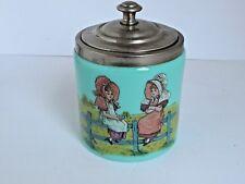 Antique Blue Opaline Glass Jar Picturing Bonnet Girls