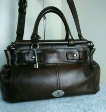 Fossil Authentic Cow Hide Leather Brown Satchel Shoulder Cross Body Hand Bag N31