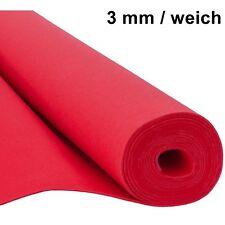 Filz Taschenfilz Basteln 0,5lfm Meterware 3mm stark 1,5m breit weich soft Rot