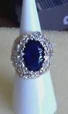 New simulated blue sapphire & diamond floral gold plated band ring sz L