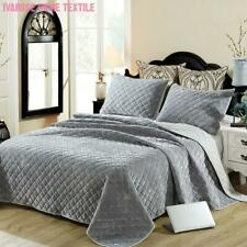 Solid Gray Color Luxury Velvet Soft Plush Diamond Bedspread Coverlet Bedding Set