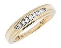 Men's 10K Yellow Gold 1 Row Channel Set Genuine Diamond Wedding Ring Band 0.15ct