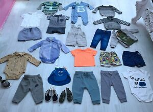 BABY BOYS CLOTHES BUNDLE AGE 6-9 MONTHS 24 ITEMS jeans dungarees romper top